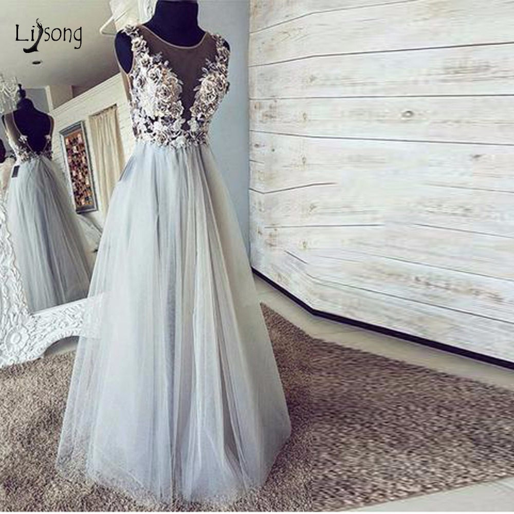 Robe De Soiree 3D Flower   Evening     Dresses   2018 Pretty Sexy Backless Tulle Long   Evening   Gowns Elegant Formal Party   Dress