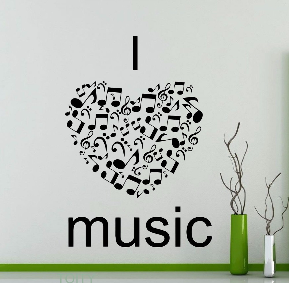 Lovely I Love Music Wall Stickers Quote Word Music Notes Treble Clef Studio Vinyl  Decals Dorm Club Bar Home Room Interior Decor In Wall Stickers From Home U0026  Garden ... Design
