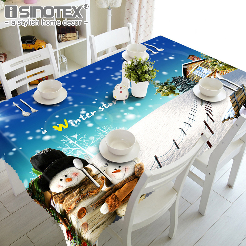 Picnic Decor Us 8 39 Merry Christmas Waterproof Table Cloth 3d Santa Claus Christmas Tree Printed Nappe Party Picnic Dining Tablecloth Home Decor In Tablecloths
