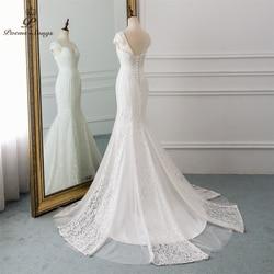 PoemsSongs 2019 new cap sleeve style lace wedding dress for wedding Vestido de noiva Mermaid wedding dresses ivory / white color 4