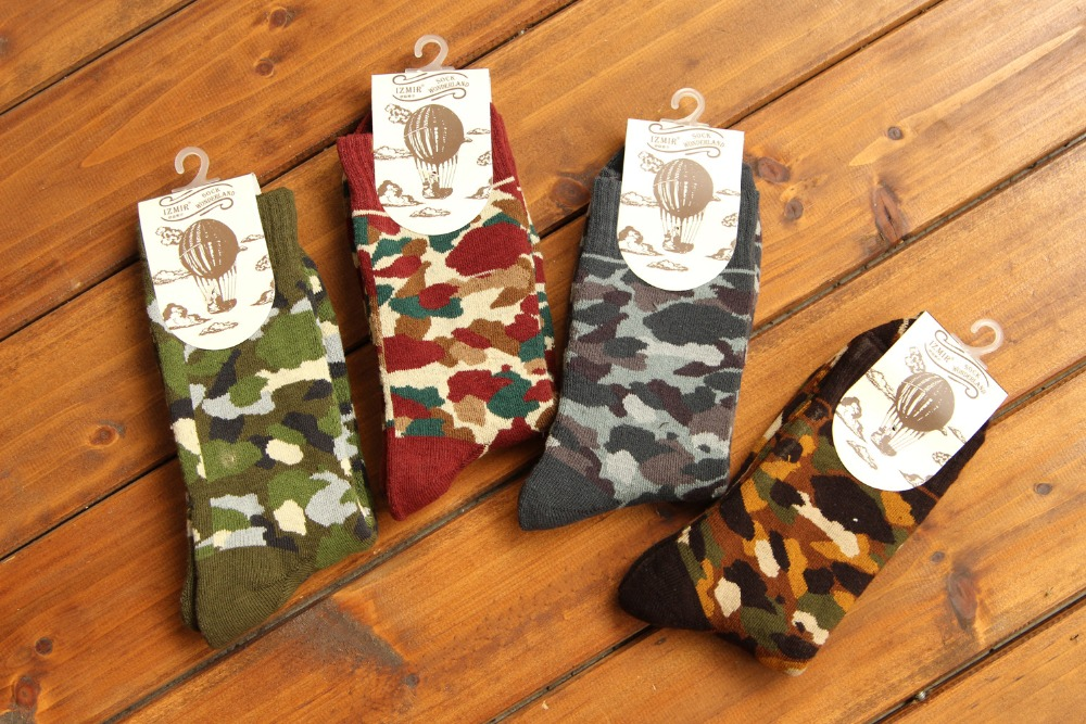 4 colors high quality cotton thick winter creative colorful camouflage style thermal long warm funny brand men socks