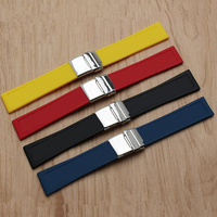 MERJUST Brand Silicone Rubber thick Watch band 22mm 24mm Black Blue Red Yellow Watch Strap For navitimer/avenger/Breitling