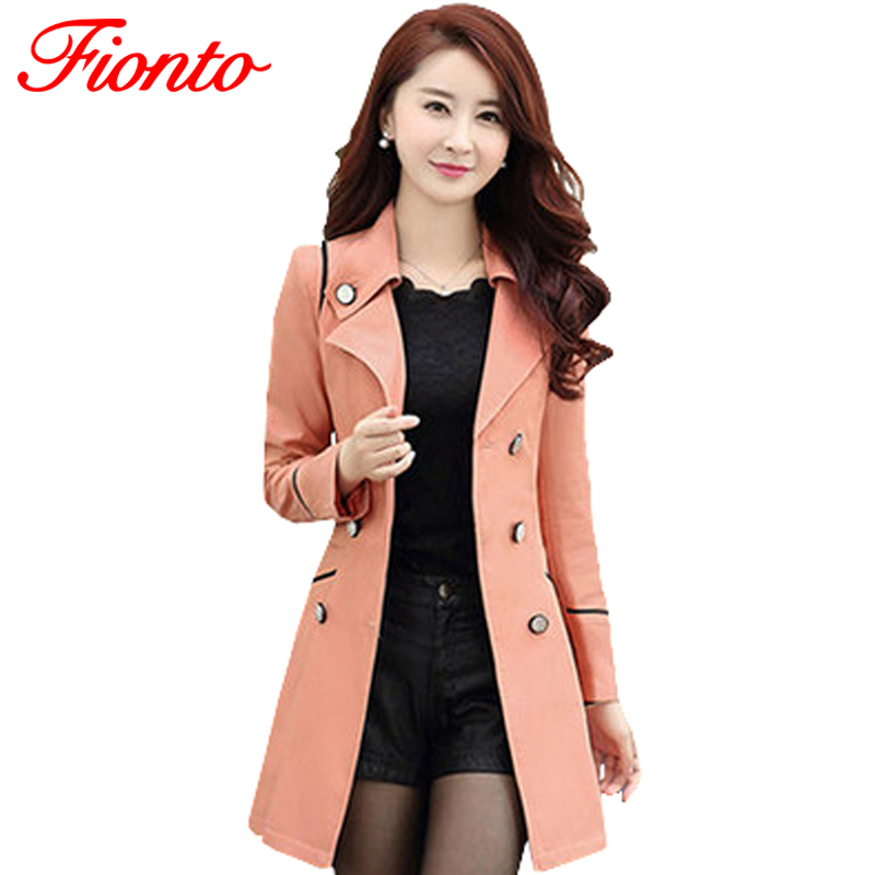 FIONTO Trench-Coat Spring Autumn Double-Breasted Long Women Casual Turn-Down Slim Solid