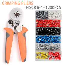 Tubular terminal crimping pliers 0.25-10mm² Adjustable Wire Terminal 6-4 Crimper with 1200PCS Crimping Tool Set