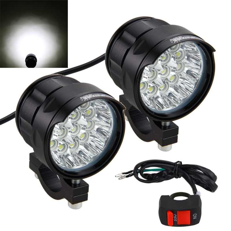 2PCS 80W 10000LM 4V-84V Motorcycle 16x XM-L T6 LED Headlight Driving Fog Lamp Spot Light with Switch