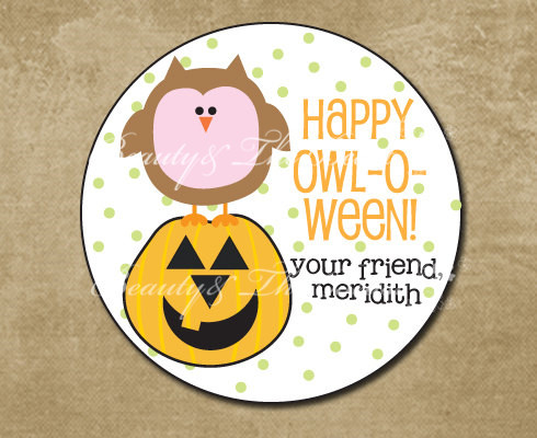 Us 9 82 18 Off Personalized Labels Party Favors Owl Kids Treat Bags Custom Hy Stickers Cupcake Toppers In