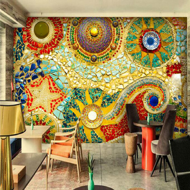 Bohemian abstract painting large murals 3D wallpaper for ...