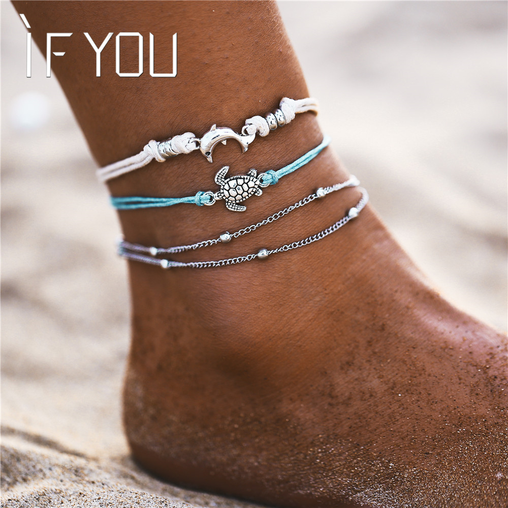 IF YOU Bohemia Summer Beach Multilayer Anklets Bracelet for Foot For Ladies Women Vintage Chain Men Anklet Jewelry Gift 2019 New