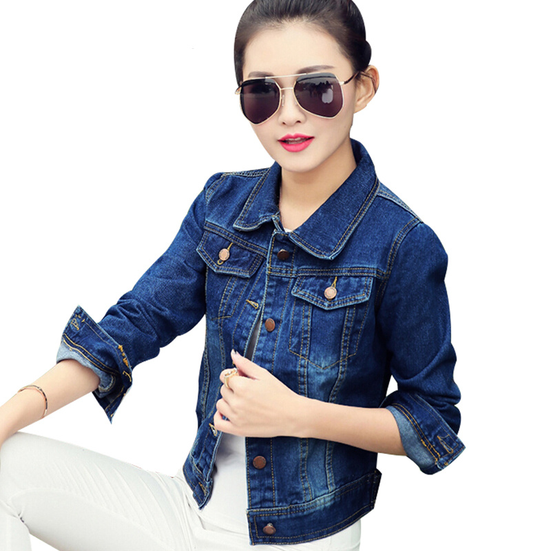 Women's Short Denim   Jacket   Spring Autumn Casual Slim Coat Jeans Female Students Lapel Long Sleeve Classic   Basic     Jackets   DC45