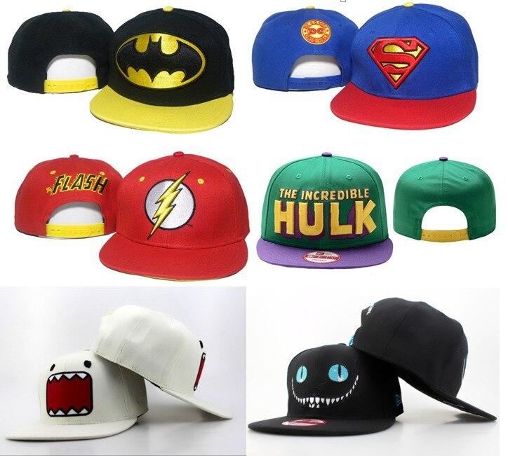 e5ba50a291858 2015 Brand Fashion Hip Hop Snapback Caps Hulk Flash Batman Superhero BOY  Street Cartoon Sun Hats 1pcs Free Shipping