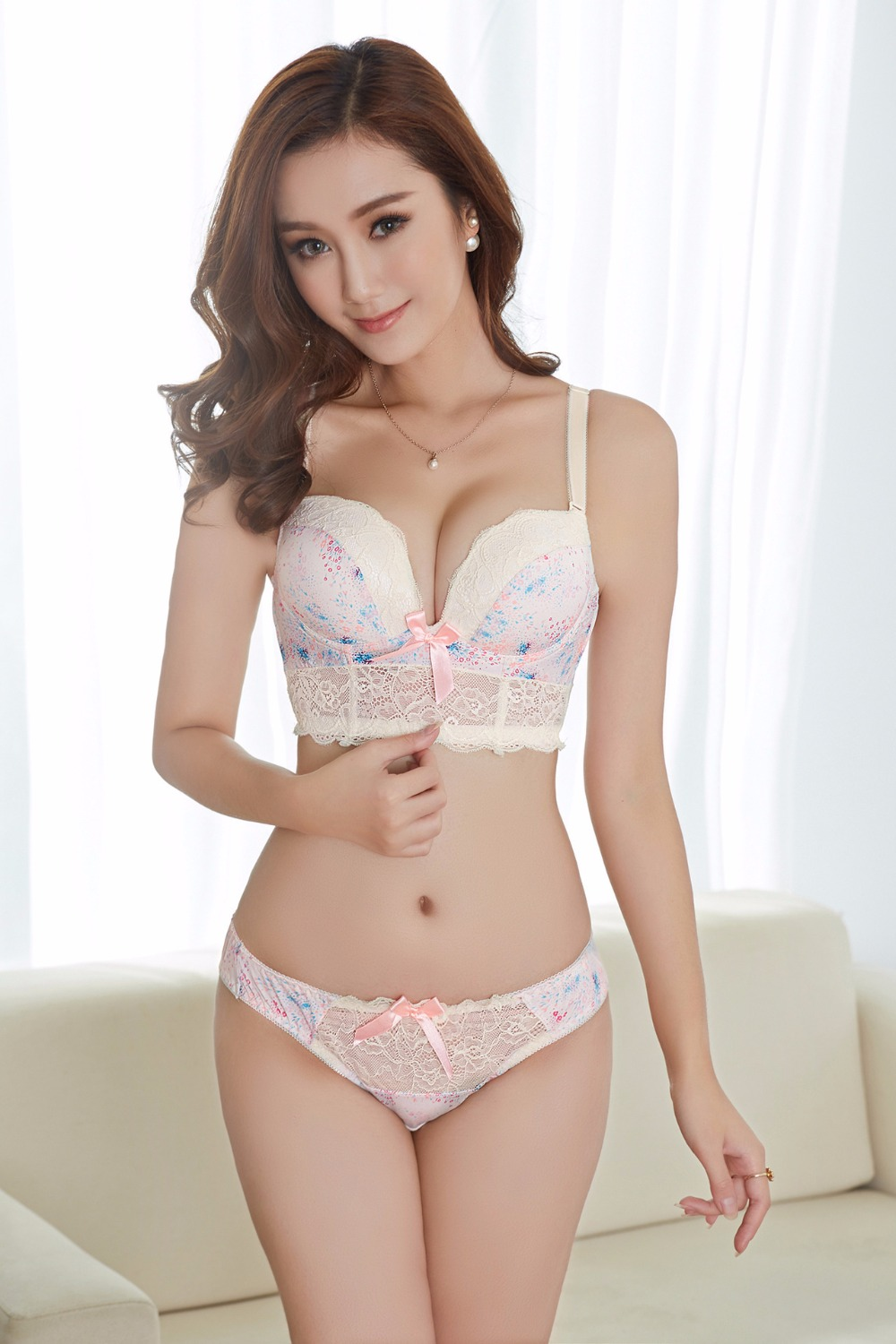 Brand Sexy Elegant Lace Bow knot Princess Underwear Bra Sets Push ...