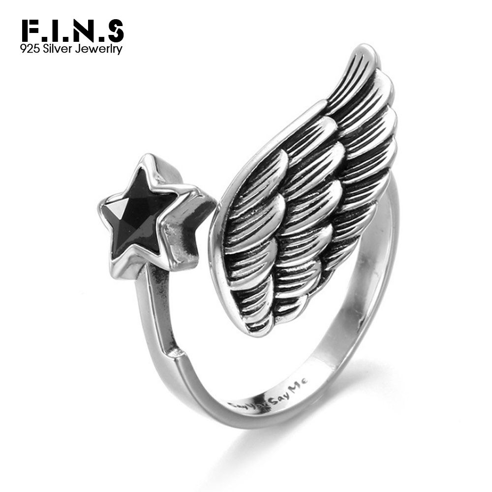 F.I.N.S Vintage Ring 925 Sterling Silver Black Zircon Star Rings Wedding & Engagement Wing Shape Unisex Ring Women Gifts