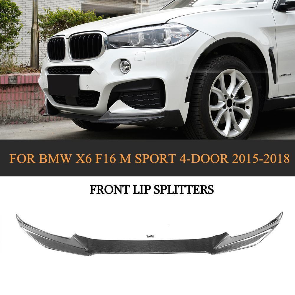 Углеродного волокна передний бампер спойлер подбородок протектор для BMW X6 F16 M Спорт 4 двери 2015 2016 2017 2018 бампер