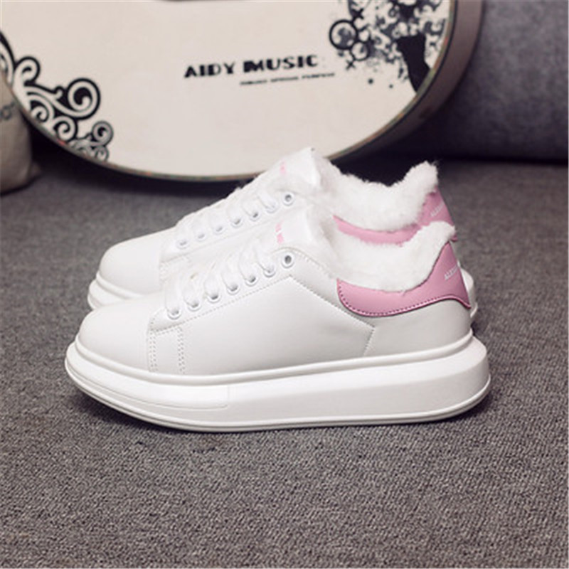 D KNIGHT Brand Women Casual White Shoes 2019 Spring Winter Women Flats Platform Shoes Fashion Lace-Up Women Sneakers Big Size 44 (3)