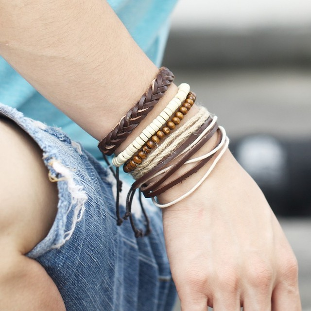 IF YOU Vintage Multilayer Leaf Leather Bracelet For Men Punk Wood Bead Bracelets Rope Braided Brinco Christmas Gift Jewelry New