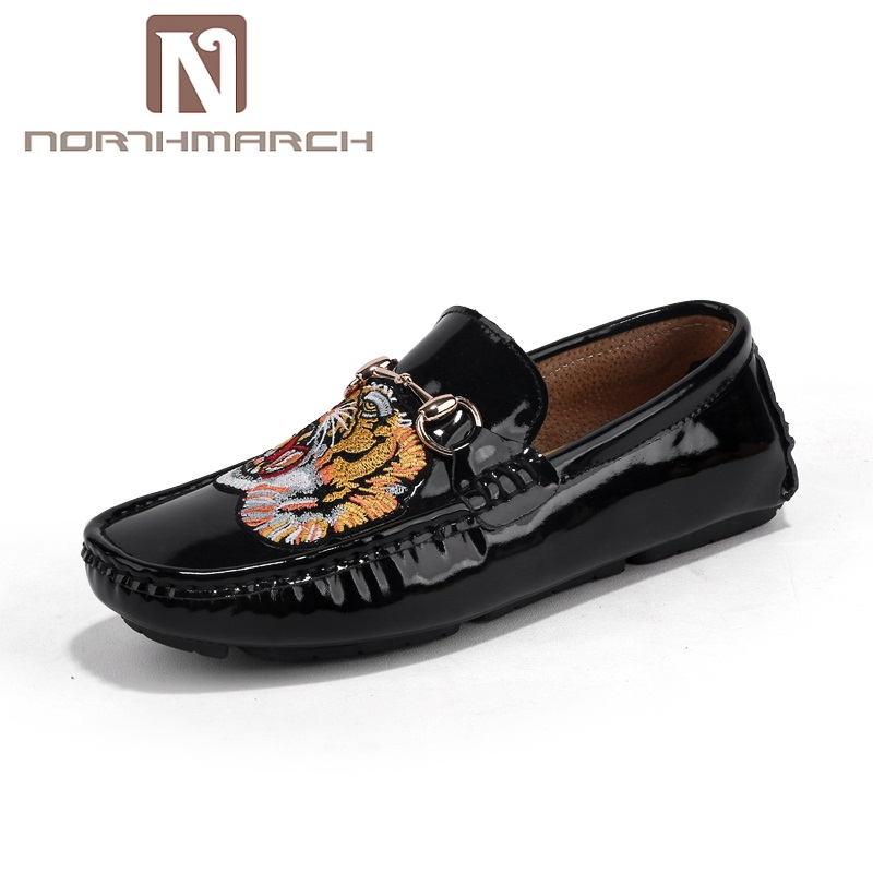 NORTHMARCH Luxury Brand 2018 Patent Leather Men Casual Shoes Fashion Boat Shoes Men Slip On Loafers Moccasins Zapatos Hombre loafers mens shoes luxury brand moccasin men flats shoes slip on leather shoes for men loafers zapatos hombre
