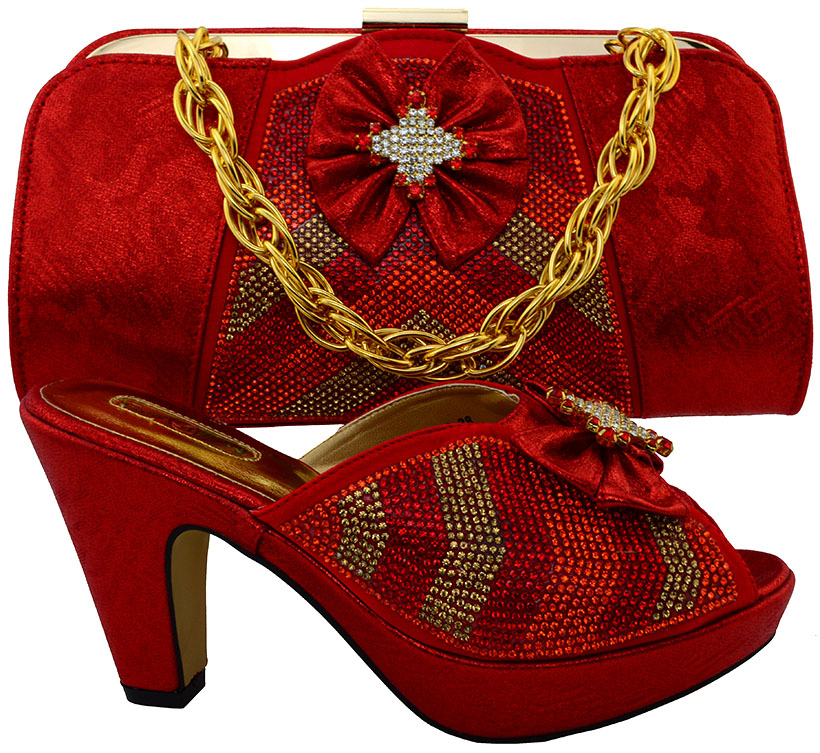 ФОТО Latest Red Color Women Shoe and Bag To Match for Parties Italian Matching Shoe and Bag Sets African Shoes and Bags Matching Sets