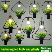 Northern Europe pendant lamps modern droplight iron Simple grass hanging lights for restaurant Green plants cord pendant light