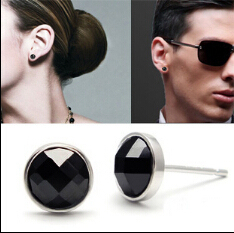 Round Square Heart Black Agate Stone Onyx Stud Earrings For Men Women Trendy 925 Sterling Silver