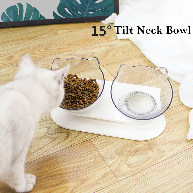 Creative Cat Double Bowl Cat Bowl Dog Bowl Transparent ABS Material Non slip Food Bowl With Protection Cervical Transparent Cat Cat Feeding & Watering Supplies    - AliExpress