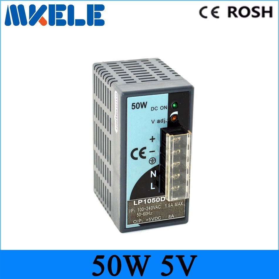 Free shipping din rail power supply 50W 5v LP-50-5 10A ac-dc switching power supply led driver for LED Strip light