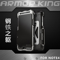Armor King Iron Man Stainless Steel Kickstand Anti knock Flip Case For Samsung Galaxy Note 4 Shockproof Sport Cover