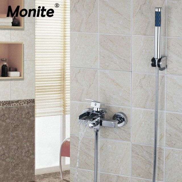Shower Bath Taps Combined solid brass wide spout with handle shower bathroom wall mounted bath