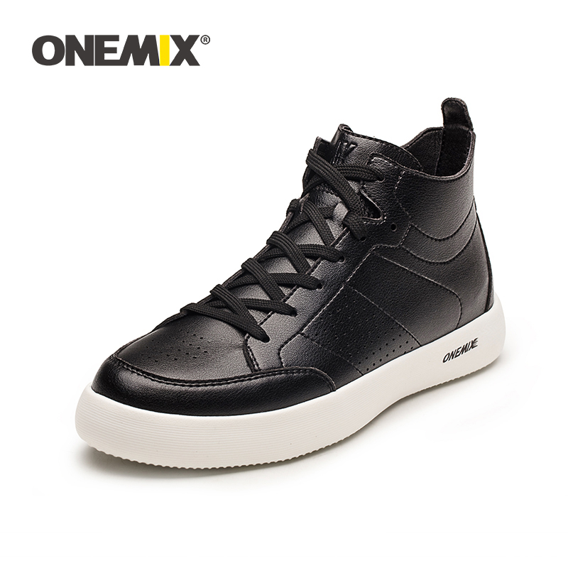 ONEMIX Skateboarding Shoes for Men Sneakers High Top Casual Classic Black Medium Cut Shoes Breathable Male Outdoor Walking Shoes-in Running Shoes from Sports & Entertainment    1