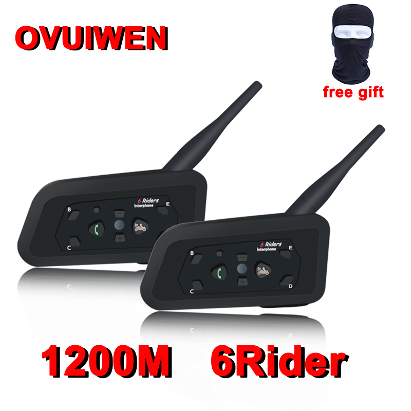 2PCS V6 Motorcycle Bluetooth Helmet Headsets Intercom for 6 Riders BT Wireless Intercomunicador Interphone MP3 Bluetooth Headset(China)