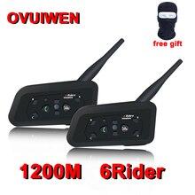 2PCS V6 Bluetooth Del Casco del Motociclo Cuffie Intercom per 6 Riders BT Senza Fili Intercomunicador Interphone MP3 Auricolare Bluetooth