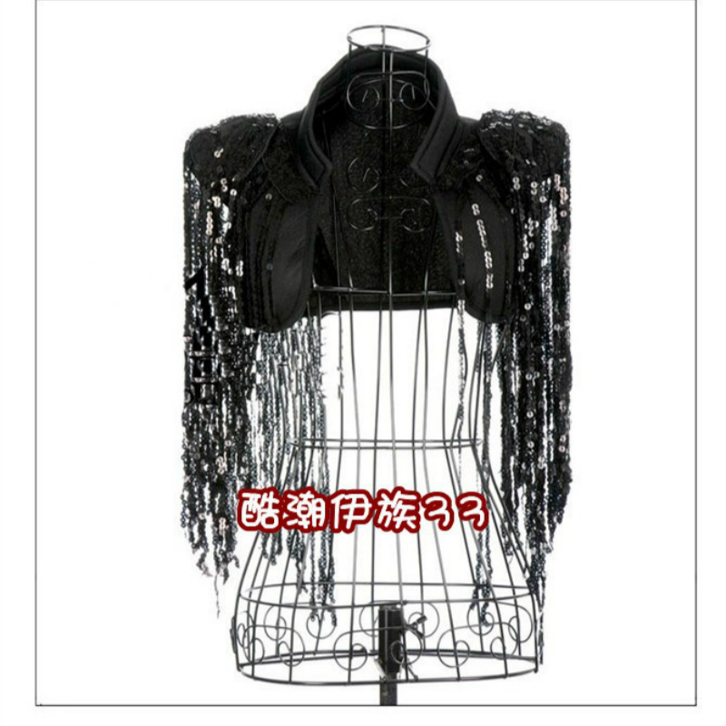 Night Club Wear Dancer Costume DS Dance Jazz Fashion All-match Paillette Tassel Cape Justaucorps