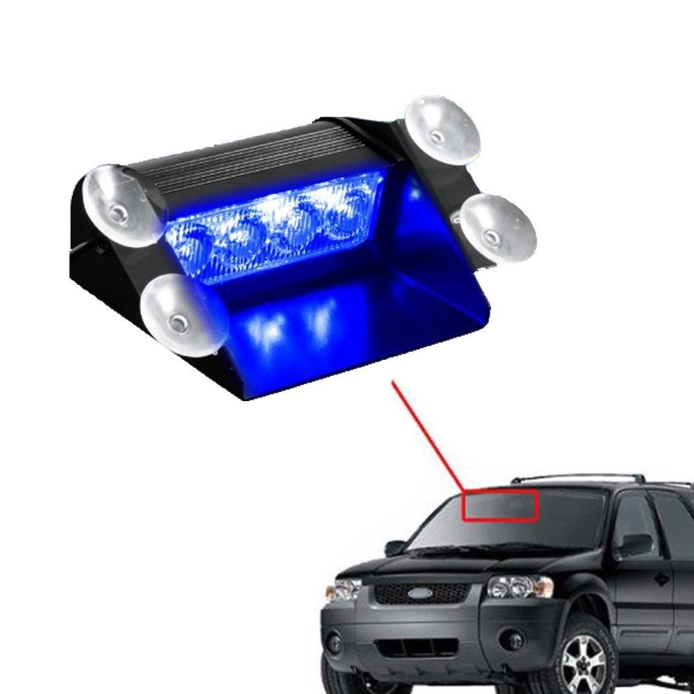 Blue 4 LED Car Emergency Warning Dashboard Dash Visor Police Strobe Lights  4LED Lamp(China