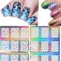 Nail Vinilos Irregular Patrón de Rejilla Plantilla Stamping Nail Art Tips Manicura Uñas Hollow Pegatinas Guía 2017 Nuevo