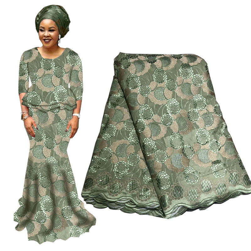 High Quality Beads Nigerian Lace Fabric For Wedding Bridal Laces Fabric Grey Green French Swiss Lace Fabric With Beads