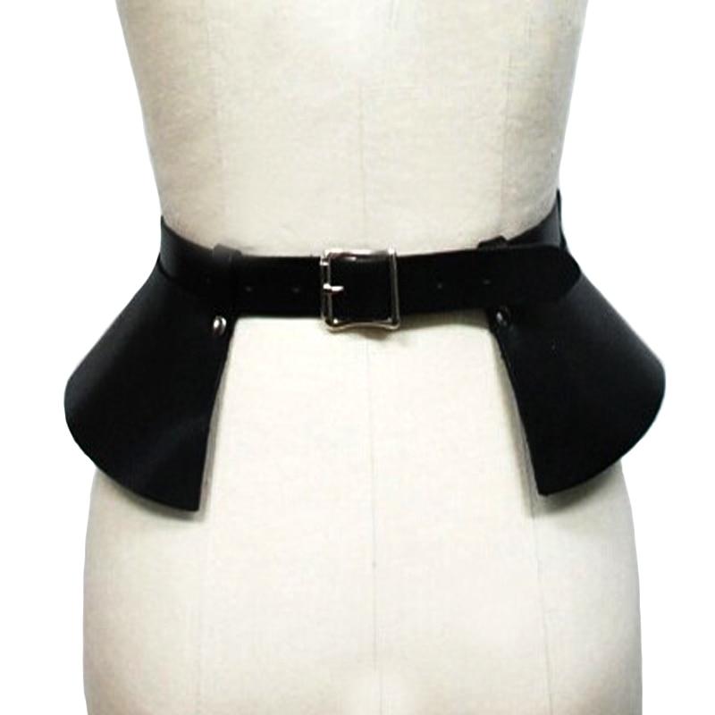 Sexy gonna di pelle punk passerella modelli temperamento selvaggio cinture Per Il Tempo Libero bound decorazione spaccatura sottile di cuoio cintura larga cintura