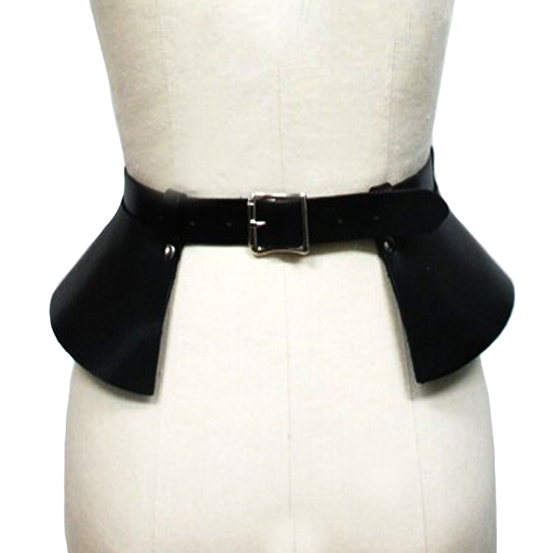 Sexy leather skirt punk catwalk models wild temperament belts Leisure bound decoration split thin leather wide belt girdle