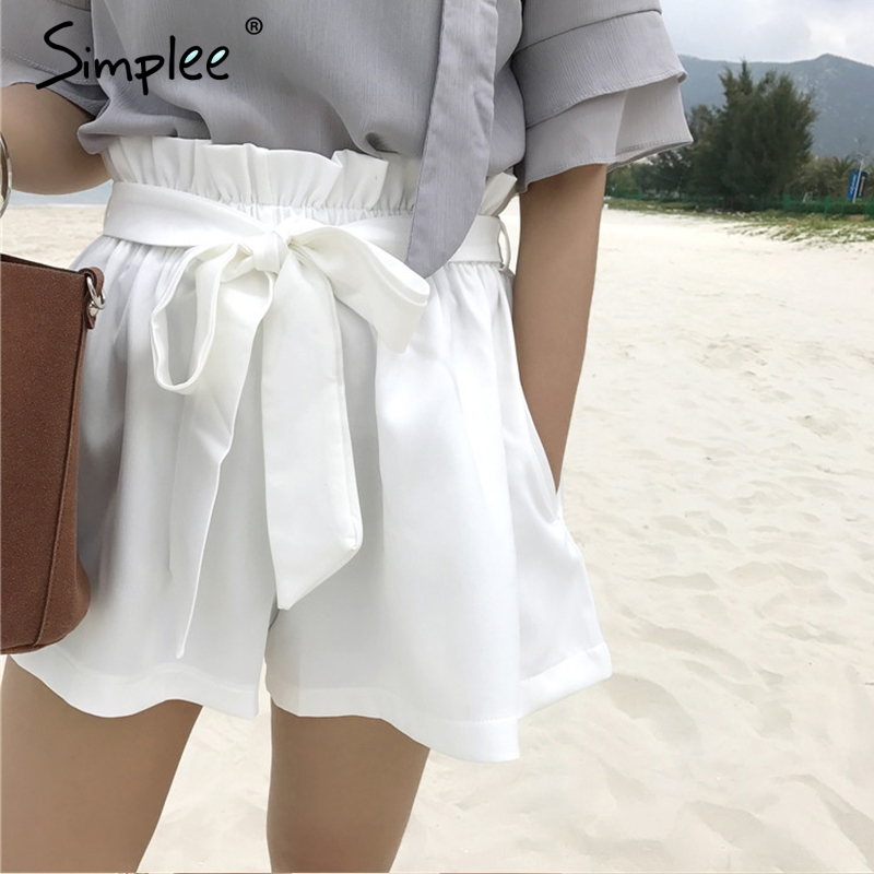 Simplee Ruched sashes high waist   shorts   women Solid color pocket bud   shorts   Summer casual streatwear hot   shorts