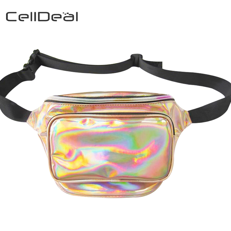 CellDeal Hot Sale Waist Pack Laser Hologram Waist Bag Translucent Fashion Reflective Waist Chest Bag Cool Pack Chic Purse