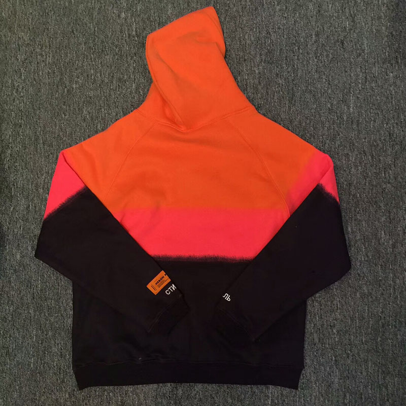 2019 New Heron Preston Two-tone Sweatshirts  Men Women 1:1 High Quality Heron Preston Hoodie Fashion Heron Preston Orange Hoodie