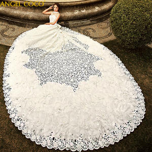 Robe-De-Mariee Wedding-Dresses Bridal-Gown Embroidery Cathedral Arabia Luxury Train Saudi