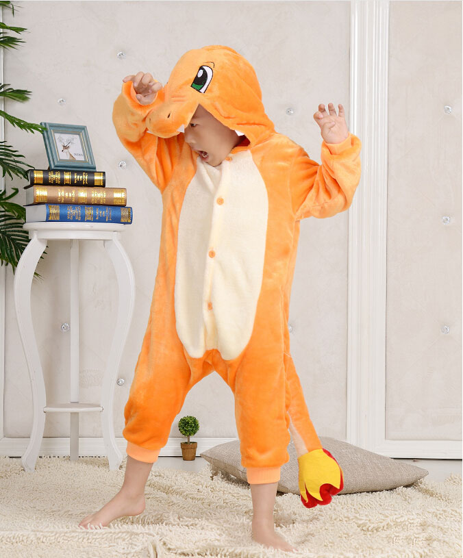 Anime Pokemon Pajamas  Charmander Pajamas Jumpsuit Pyjamas Costume Fire Dragon Child Unisex Onesie Party Kids Onesie