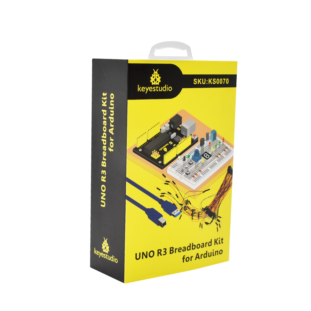 Купить с кэшбэком Free shipping! Keyestudio UNO R3 Breadboard kit Gift Box For Arduino Education Project with dupont wire+LED+resistor+PDF