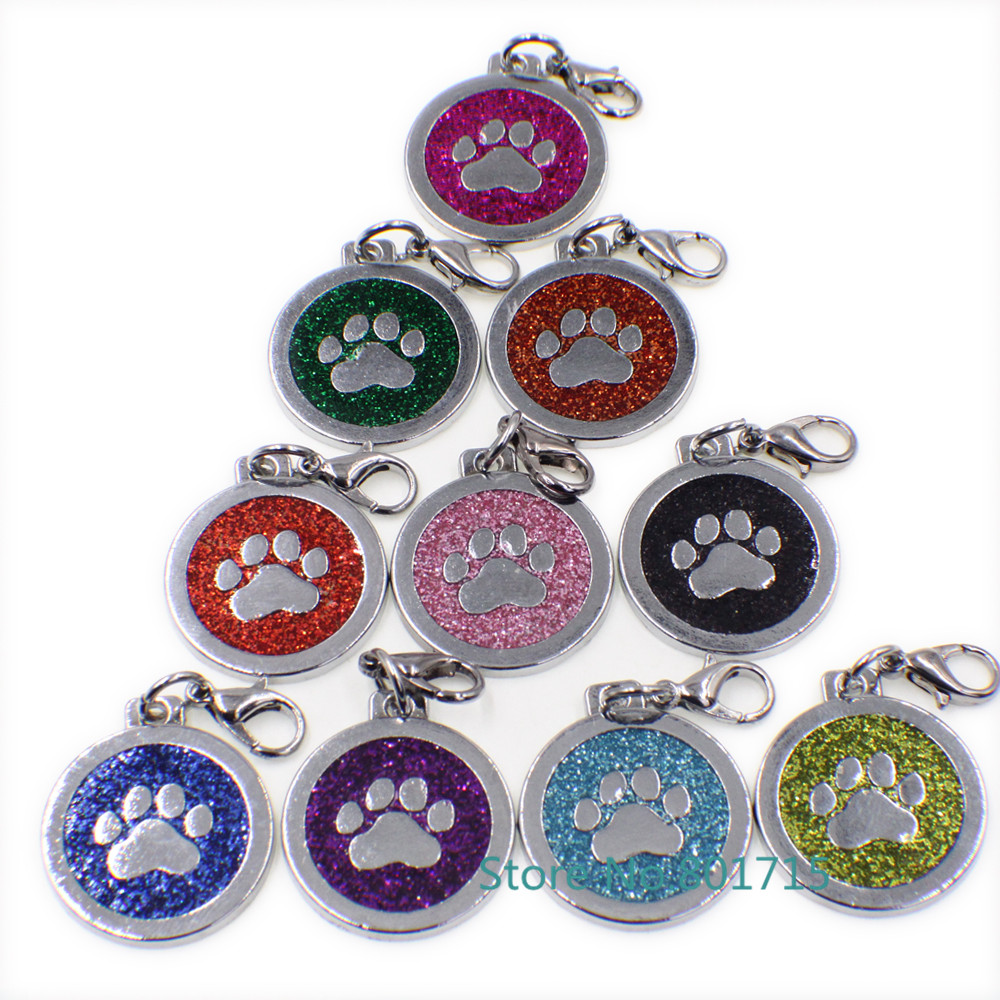 10pcs Mix Color Bling Footprint Paw Pendant With Lobster