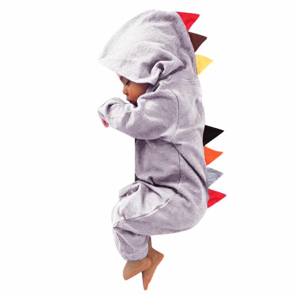 Áo liền quần Sơ sinh Bé Trai Bé Gái Thời Trang Khủng Long Đáng Yêu Khóa Kéo Có Mũ Liền quần Thoải Mái Trang Phục Quần Áo disfraz Bebe