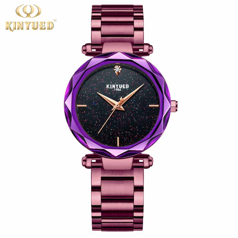 KINYUED Luxury Brand Women Watch Bracelet Quartz Wristwatch Purple Rose Gold Ladies Clock Relogio Feminino Montre Femme цены