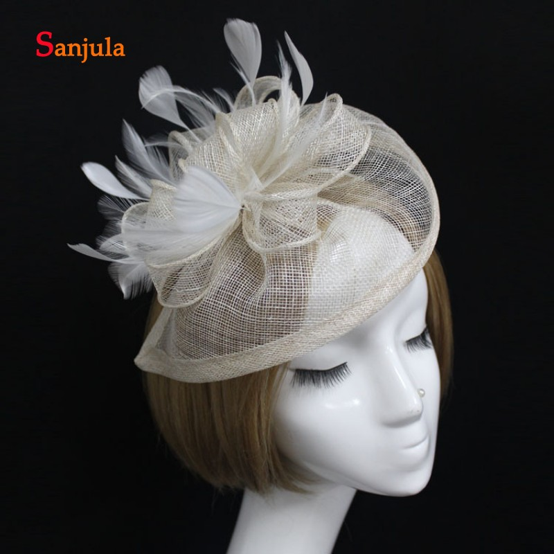 Feathers Fascinators Linen Hats for Women Ivory Bridal Wedding Hat with Headband 2019 New Fashion Headpiece chapeau mariage H03 in Bridal Headwear from Weddings Events