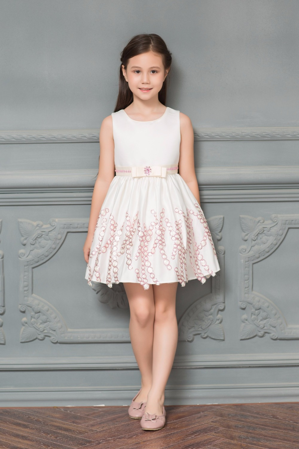 New Elegant Ivory Satin Sequins Appliques Lace A-line Mini   Flower     Girls     Dress   for Wedding First Communion Prom   Dresses   for   Girls