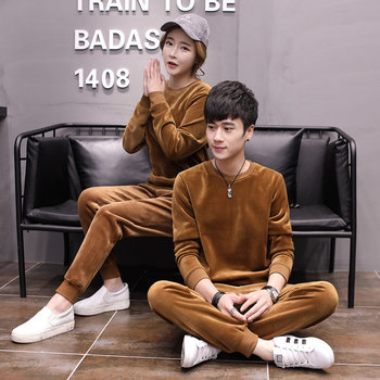 Winter Warm Mens Sport Suits Solid Color Unisex Casual Tracksuit Two Pieces Set O-Neck Long Sleeve Sweatshirt Tops + Pants S-3XL