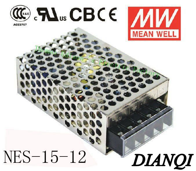 Original MEAN WELL power suply unit ac to dc power supply NES-15-12 15W 12V 1.3A  MEANWELL original power suply unit ac to dc power supply nes 350 12 350w 12v 29a meanwell