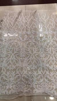 2018 New pattern  5yards/bag  JL324#  white  good quality sequin tulle mesh lace fabric for bridal wedding dress/sawing